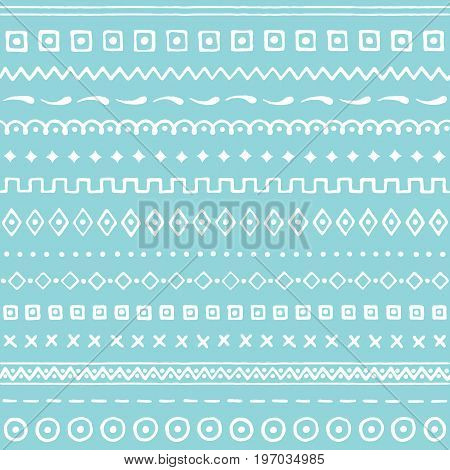 Blue seamless pattern with abstract ornament. Hand drawn texture. Vector illustration eps10.