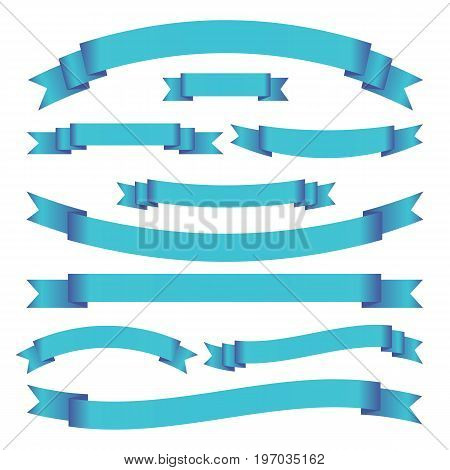 Set of blue bright ribbons and banners on white background. Collection of blank scrolls for your design. Vector illustration.