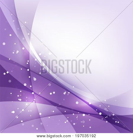 Purple festive Christmas abstract background with curved lines and snow