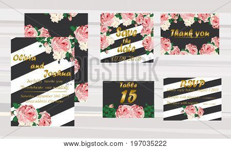 wedding invitation card suite with daisy flower Templates