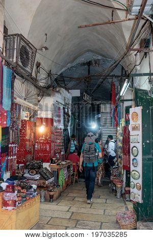Jerusalem Israel July 14 2017 : Silent streets in the old city of Jerusalem Israel. Market in the El Wad Ha Gai street.