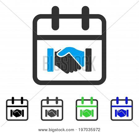 Contract Day flat vector pictogram. Colored contract day gray, black, blue, green pictogram variants. Flat icon style for web design.