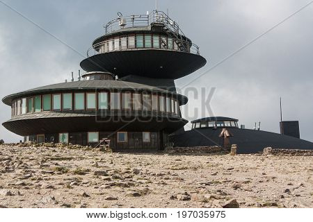 Poland, Karpacz - September 14, 2016: Meteorological observatory at the top of the mountain called Sniezka