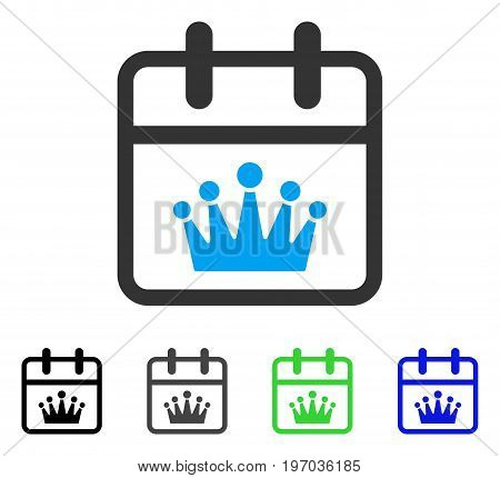 King Day flat vector icon. Colored king day gray, black, blue, green pictogram variants. Flat icon style for graphic design.