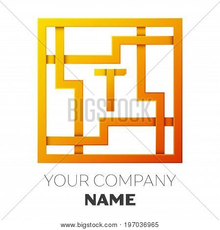 Realistic Letter T vector logo symbol in the colorful square maze on white background. Shadow Breaks. Vector template for your design