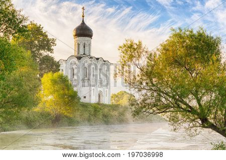 Church of the Intercession on the Nerl in morning fog in Bogolubovo Vladimir oblast Russia