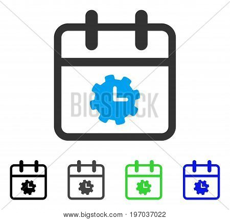 Time Service Day flat vector illustration. Colored time service day gray, black, blue, green pictogram variants. Flat icon style for web design.