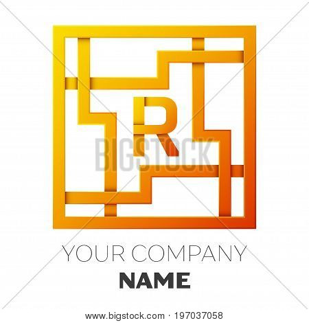Realistic Letter R vector logo symbol in the colorful square maze on white background. Shadow Breaks. Vector template for your design