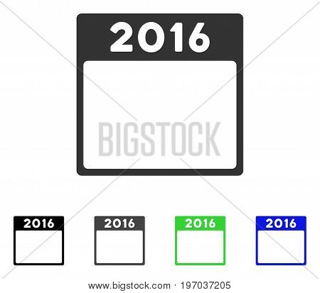 2016 Year Calendar Template flat vector pictograph. Colored 2016 year calendar template gray, black, blue, green pictogram versions. Flat icon style for application design.