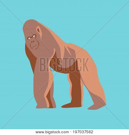 Vector illustration in flat style gorilla animal