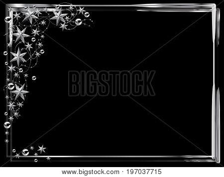 Christmas frame with silver stars and balls