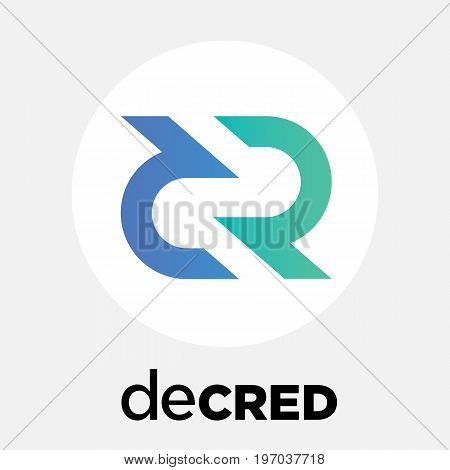 Decred (DCR) decentralized blockchain  criptocurrency vector logo.