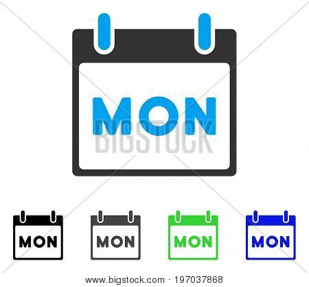 Monday Calendar Page flat vector illustration. Colored monday calendar page gray, black, blue, green icon variants. Flat icon style for web design.