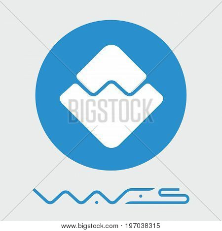 Waves decentralized blockchain  criptocurrency platform vector logo.