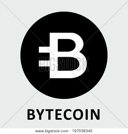 Bytecoin (BCN) criptocurrency black and white icon for apps and websites.