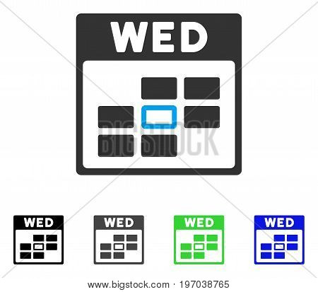 Wednesday Calendar Grid flat vector illustration. Colored Wednesday calendar grid gray, black, blue, green icon versions. Flat icon style for graphic design.