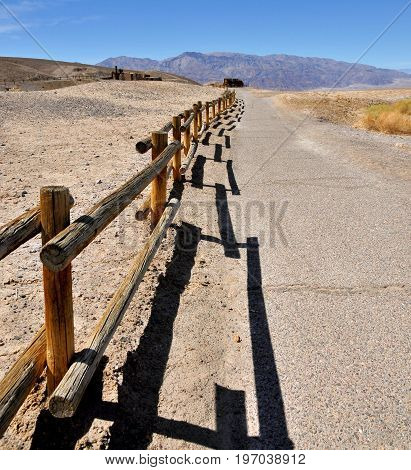 Fence along the road near Furnace in Death Valley National Park  in California