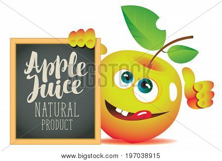 Vector banner for fresh juice with funny apple and blackboard with inscription Apple juice