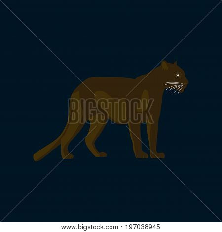 Vector illustration in flat style panther animal