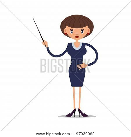 Women school teacher with a pointer in high-heeled shoes. Flat editable vector illustration isolated on white background.