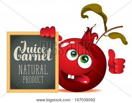 Vector banner for fresh juice with funny pomegranate and blackboard with inscription Garnet juice