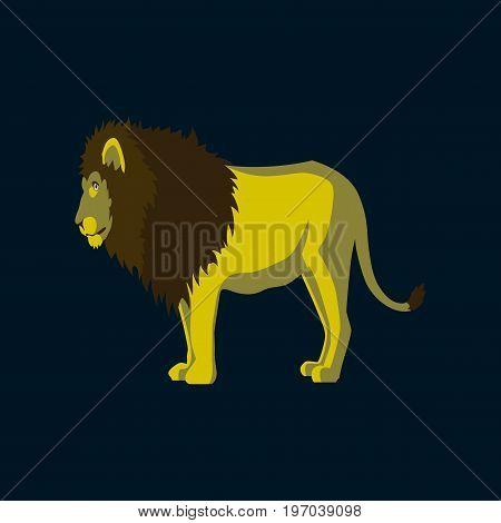 Vector illustration in flat style lion animal