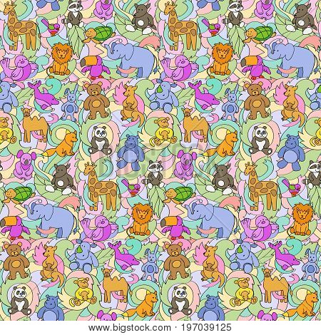 Animal outline toys on abstract wave background seamless border. Fun colorful wallpaper, textile prints, greeting cards.