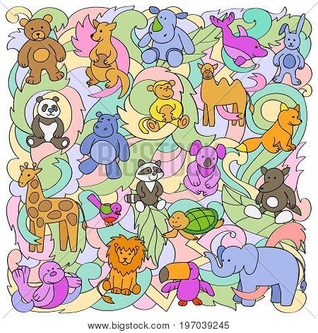 Animal colorful outline toys on abstract wave background. Fun pattern for greeting cards, textile prints.