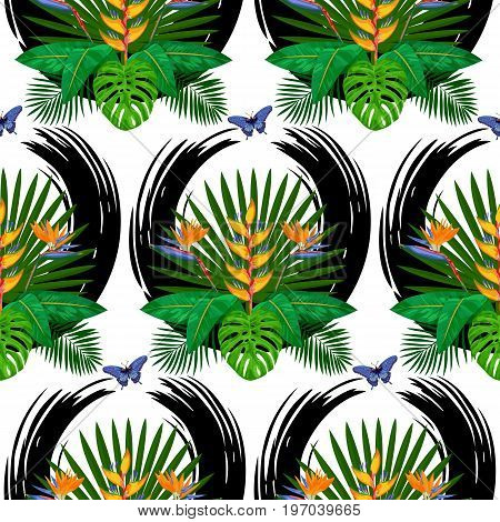 Seamless pattern of tropical bouquet with flowers, leaves and butterfly. Exotic floral wallpaper with abstract black brash circle on white background.