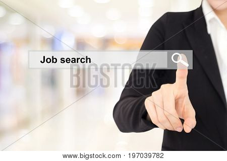 Businesswoman hand touching job search on search bar over blur background business and technology concept search engine optimization web banner
