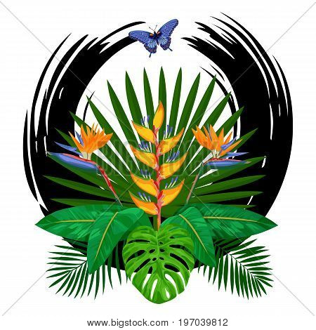 Tropical bouquet with flowers, leaves and butterfly. Tropic floral composition with abstract black brash circle on white background.