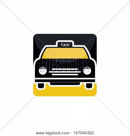 Yellow taxi car.Transport taxis for passengers. Taxi station single icon square buttons.
