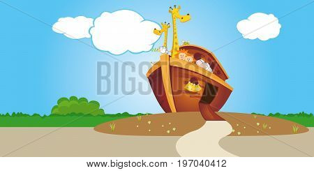 Noahs Ark on dry land with open door