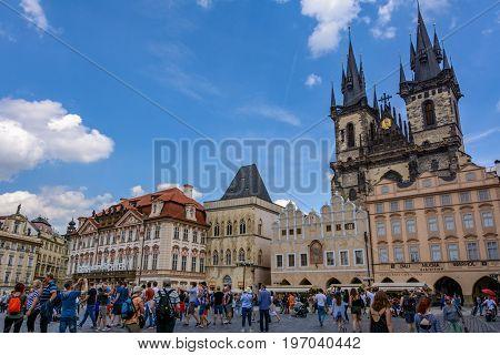 Prague, Czech Republic - June 5, 2017: Old Town Square, Prague's main square, Bohemia