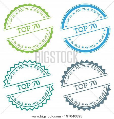 Top 70 Badge Isolated On White Background. Flat Style Round Label With Text. Circular Emblem Vector