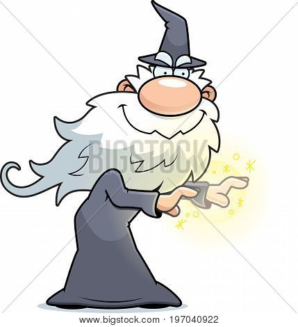 A cartoon illustration of a wizard casting a spell.