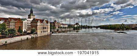 River Vltava in Prague Czech Republic. View from Charles Bridge