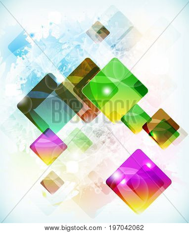 Abstract futuristic vector background vith falling colored boxes