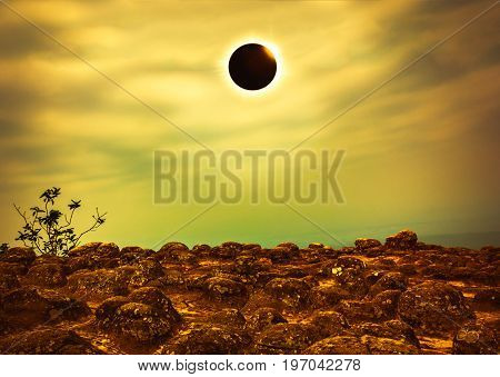 Scientific Natural Phenomenon. Total Solar Eclipse With Diamond Ring Effect Glowing On Sky. Glowing