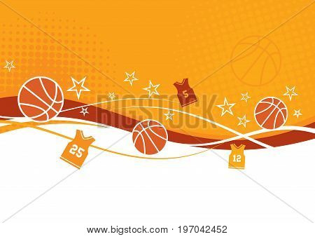 A basketball themed background in orange and yellow with jerseys and stars.