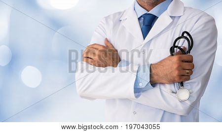 Close up of male doctor in the hospital with copy space