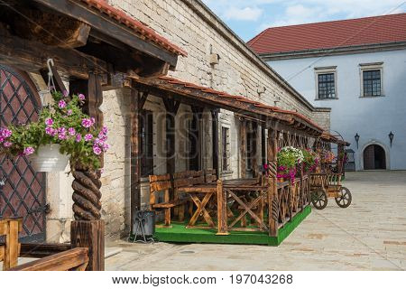 A beautiful terrace of the European tavern in medieval style