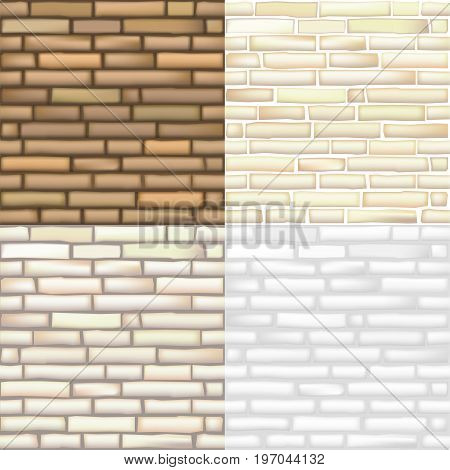 Set of seamless textures of old bricks in vector graphics