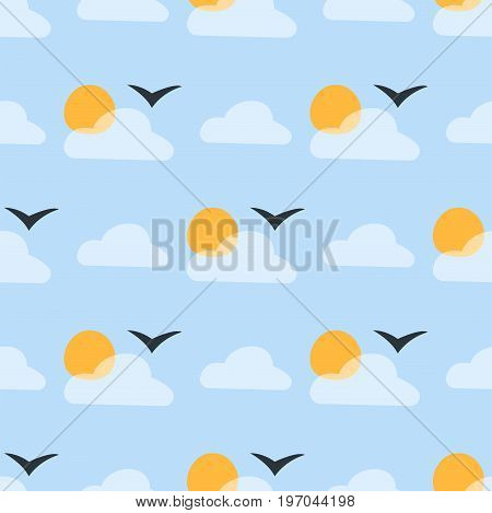 Weather seamless pattern cloud sky vector illustration season thermometer outline design thunder temperature sign. Meteorology sky or sun nature element for web application.