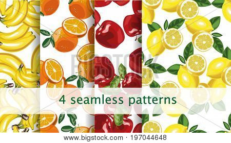 Vector seamless fruit pattern set. Vector 10 eps file.