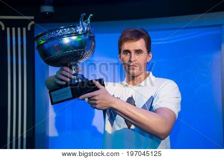 Prague, Czech republic, July 22, 2017: Ivan Lendl in Grevin museum of the wax figures in Prague.
