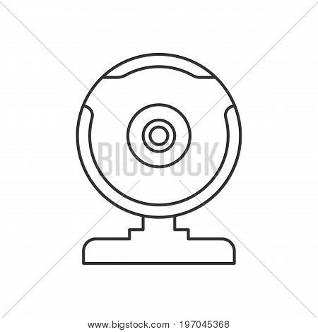 Isolated black outline web camera on white background. Line icon
