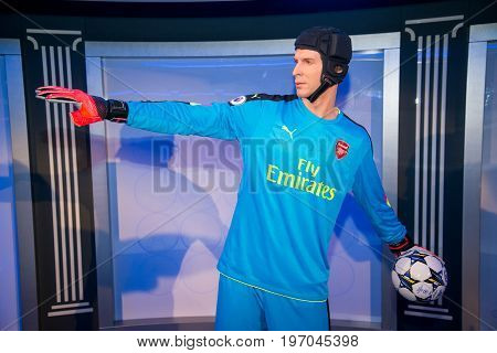 Prague, Czech republic, July 22, 2017: Petr Cech in Grevin museum of the wax figures in Prague.