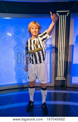 Prague, Czech republic, July 22, 2017: Pavel Nedved in Grevin museum of the wax figures in Prague.