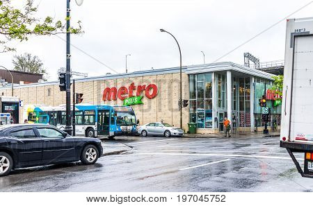 Montreal, Canada - May 26, 2017: Metro Plus Grocery Store In City In Quebec Region During Wet Rain O